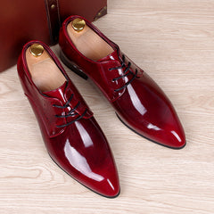 mens business wedding work dress bright genuine leather shoes point toe oxford shoe lace up Korean fashion Zapatos Hombres man-Dollar Bargains Online Shopping Australia