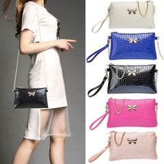 New Women's Chain PU Small Shoulder Bag Crocodile Bow Decoration Clutch Pouch Bags HB88-Dollar Bargains Online Shopping Australia