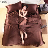 Silk Quilt Black Satin Sheets Bed Linen Cotton Solid Satin Duvet Cover Set King Size Bedsheet 4pcs of Bedding Sets-Dollar Bargains Online Shopping Australia