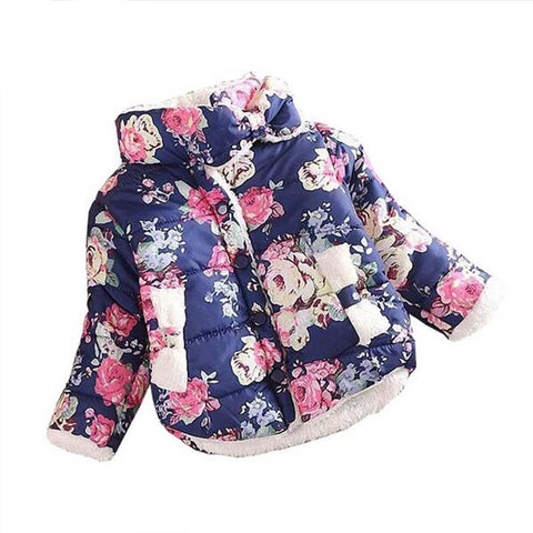 Girls Coat Warm Baby Winter Long Sleeve Flower Jacket Children Cotton-Padded Clothes Kids Christmas Outwear a-079-Dollar Bargains Online Shopping Australia