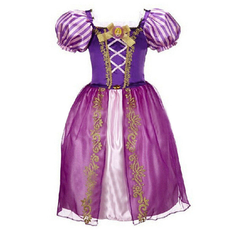 Purple / 3TCinderella Dresses Children Snow White Princess Dresses Rapunzel Aurora Kids Party Halloween Costume Clothes k20