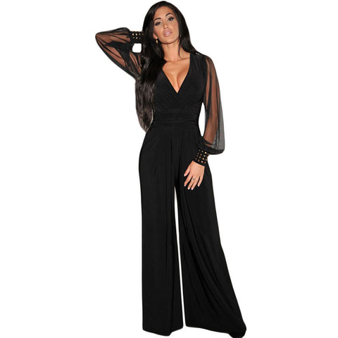 Dear-Lover Long Black Rompers Womens Jumpsuit Winter Autumn Party V-neck Embellished Cuffs Mesh Sleeves Loose Club Pants LC6650 - Dollar Bargains - 1