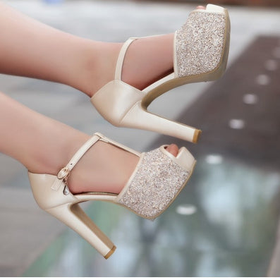 Female Sexy Peep Toe Buckle Strap Summer Pumps Girls High Heel Glitter Shoes Women Wedding sandles Big size-Dollar Bargains Online Shopping Australia