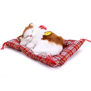 2016 Lovely Simulation Animal Doll Plush Sleeping Cats Toy with Sound Kids Toy Birthday Gift Doll Decorations stuffed toys - Dollar Bargains - 2
