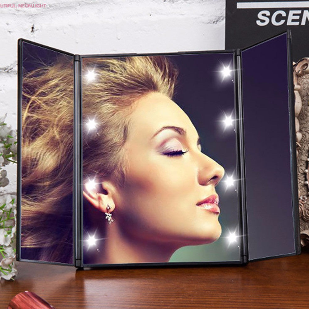 8 LEDs Lighted Makeup Mirror Make Up 3 Folding Portable Touch Screen  Adjustable Tabletop Countertop