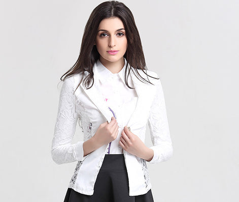 Women Blazers And Jackets New Fashion Casual Spring Jacket Plus Size Lace Splice White Small Suit Blazer Women-Dollar Bargains Online Shopping Australia