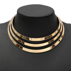 Charm Choker Necklaces Women Gorgeous Metal Multi Layer Statement Bib Collar Necklace Fashion Jewelry Accessories-Dollar Bargains Online Shopping Australia