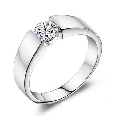 Silver Wedding Rings for Women/Men 925 Sterling Silver Crystal Simulated Diamond Ring Jewelry Anel Ulove J002-Dollar Bargains Online Shopping Australia