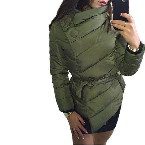 winter jacket women duck down coat 1950s 60s  high collar with belt parkas for women winter 3 colors warm outerwear coats - Dollar Bargains - 1
