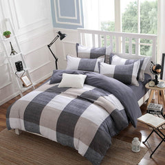 Spring and Autumn Cotton Bedding Sets Duvet Cover Bed Sheet Minimalist Style Checkered Fashion 3 / 4pcs Queen Full Twin Size-Dollar Bargains Online Shopping Australia