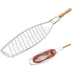 BBQ Barbecue One Fish Grilling Basket Folder Tool Roast with Wooden Handle-Dollar Bargains Online Shopping Australia