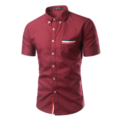 Summer Men's Brand Clothes Turn-Down Collar Short Sleeve Shirts Mens Dress Shirts Slim Fit Solid Color Shirt For Men 6537-Dollar Bargains Online Shopping Australia