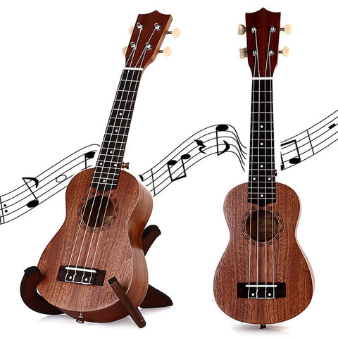 21 Inch Soprano Ukulele TOKKY Uke Four 4 Strings Instrument Brown Laser Engraving No-border Semi-closed Rosewood Sapele Ukelele - Dollar Bargains