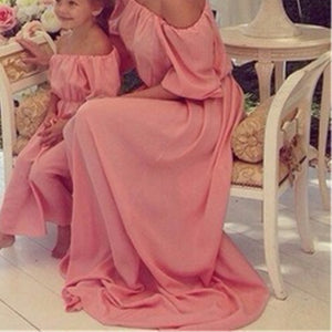 Summer Mother Daughter Dresses Bohemian Beach Family Matching Clothes Off Shoulder Chiffon Long Dress Family Fitted-Dollar Bargains Online Shopping Australia