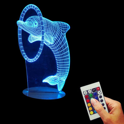 Multi-Colored Bulbing Light Dolphin 3D Optical Illusion Desk Night Light Led Table Lamp Home Decor For Kid-Dollar Bargains Online Shopping Australia