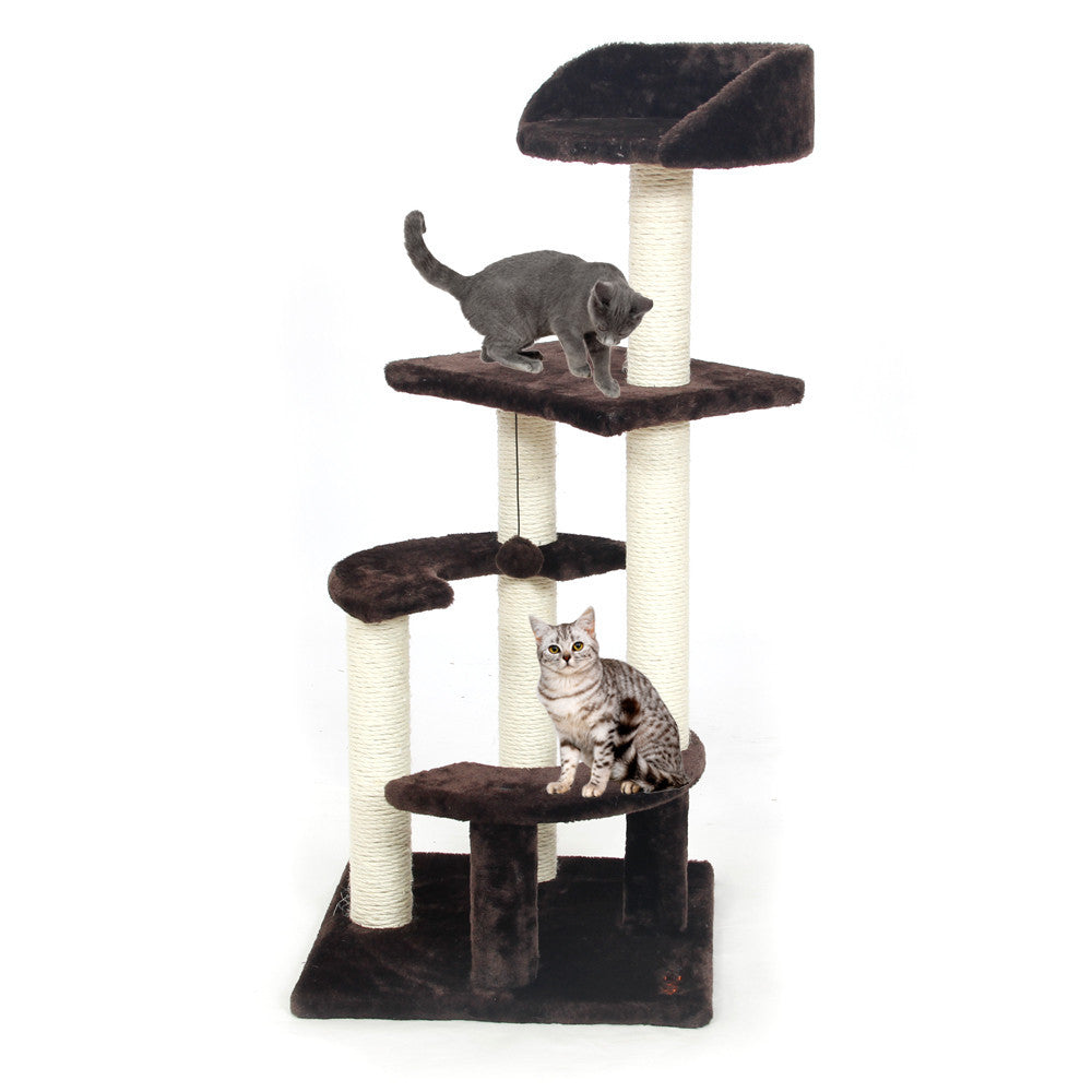 Cat Toy Scratching Wood Climbing Tree Cat Jumping Toy with Ladder ...