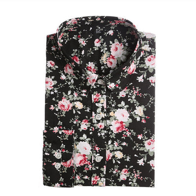 Brand New Women Floral Shirts Cotton Long Sleeve Shirt Women Floral Print Shirt Casual Ladies Blouse Turn Down Collar Women Tops - Dollar Bargains - 9