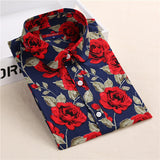 Brand New Women Floral Shirts Cotton Long Sleeve Shirt Women Floral Print Shirt Casual Ladies Blouse Turn Down Collar Women Tops - Dollar Bargains - 16