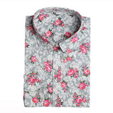 Brand New Women Floral Shirts Cotton Long Sleeve Shirt Women Floral Print Shirt Casual Ladies Blouse Turn Down Collar Women Tops - Dollar Bargains - 17