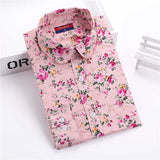 Brand New Women Floral Shirts Cotton Long Sleeve Shirt Women Floral Print Shirt Casual Ladies Blouse Turn Down Collar Women Tops - Dollar Bargains - 13