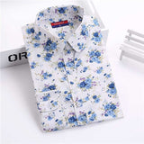 Brand New Women Floral Shirts Cotton Long Sleeve Shirt Women Floral Print Shirt Casual Ladies Blouse Turn Down Collar Women Tops - Dollar Bargains - 6