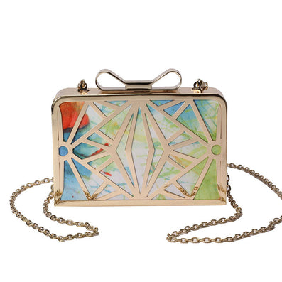 Fashion Women Handbags Metal Patchwork Shinning Shoulder Bags Ladies Print Day Clutch Wedding Party Evening Bags bh507-Dollar Bargains Online Shopping Australia