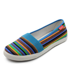 Spring Women Loafers Soft Rainbow Stripe Slip On Flats For Summer Style Canvas Shoes Woman Plus Size 35-41-Dollar Bargains Online Shopping Australia