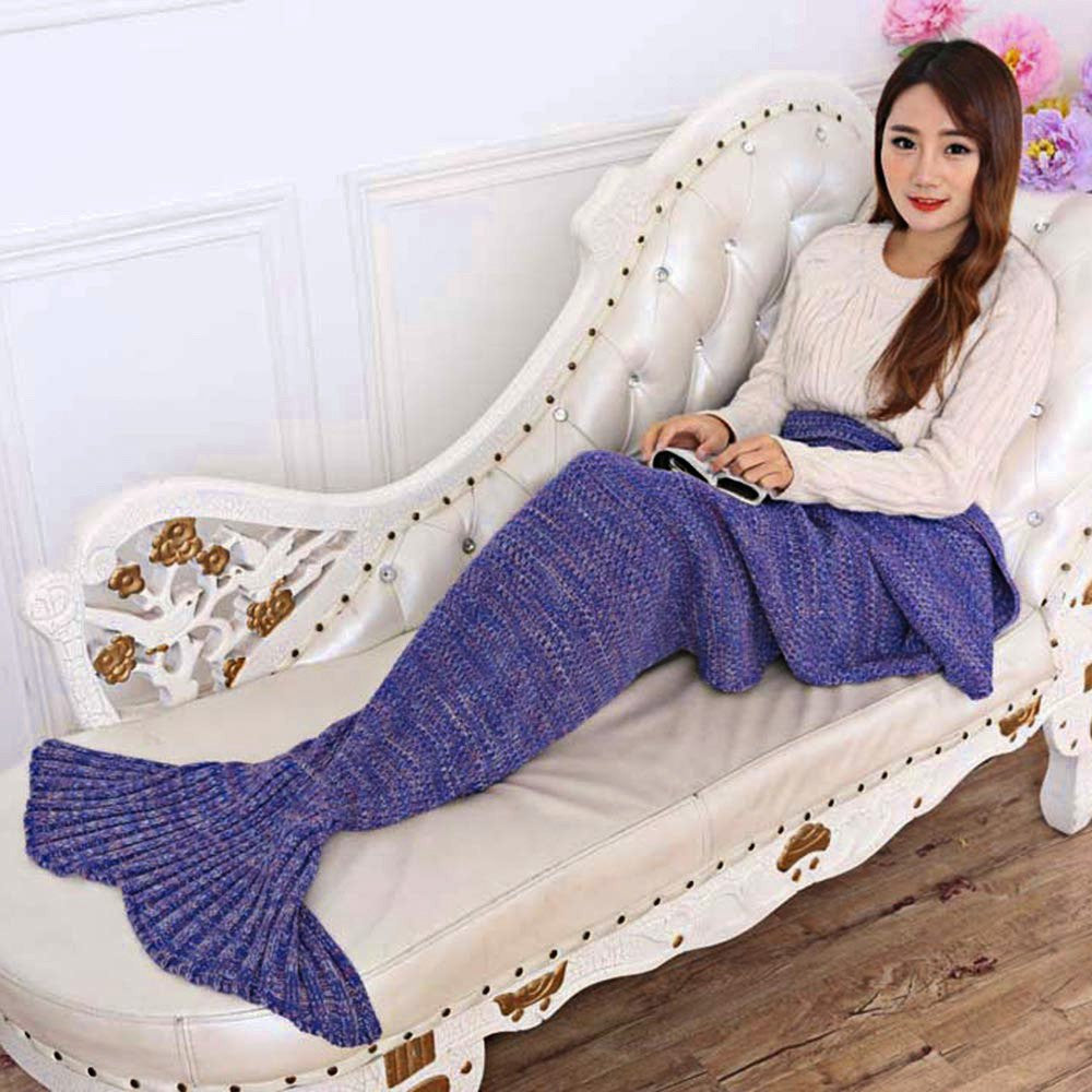 Purple / 195x95cm195x95CM Yarn Knitted Mermaid Tail Blanket Super Soft Sleeping Bed Handmade Crochet Anti-Pilling Portable Blanket For Autum