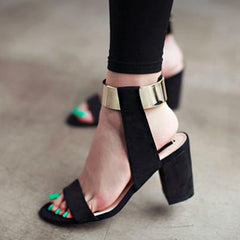 Summer thick heel sandals women fashion women's shoes metal quality nubuck leather high heels sandals-Dollar Bargains Online Shopping Australia