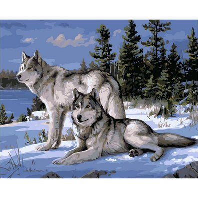 No Frame Wolf Animals DIY Painting By Numbers Kits Paint On Canvas Acrylic Coloring Painitng By Numbers For Home Wall Decor-Dollar Bargains Online Shopping Australia