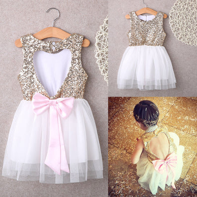 3-10Y Children Baby Girl Dress Clothing Sequins Party Gown Mini Ball Formal Love Backless Princess Bow Backless Gown Dress Girl-Dollar Bargains Online Shopping Australia