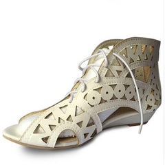 Fashion Cut-outs Lace Up Sandals Open Toe Low Wedges Bohemian Summer Shoes Beach Shoes Woman White Shoes-Dollar Bargains Online Shopping Australia