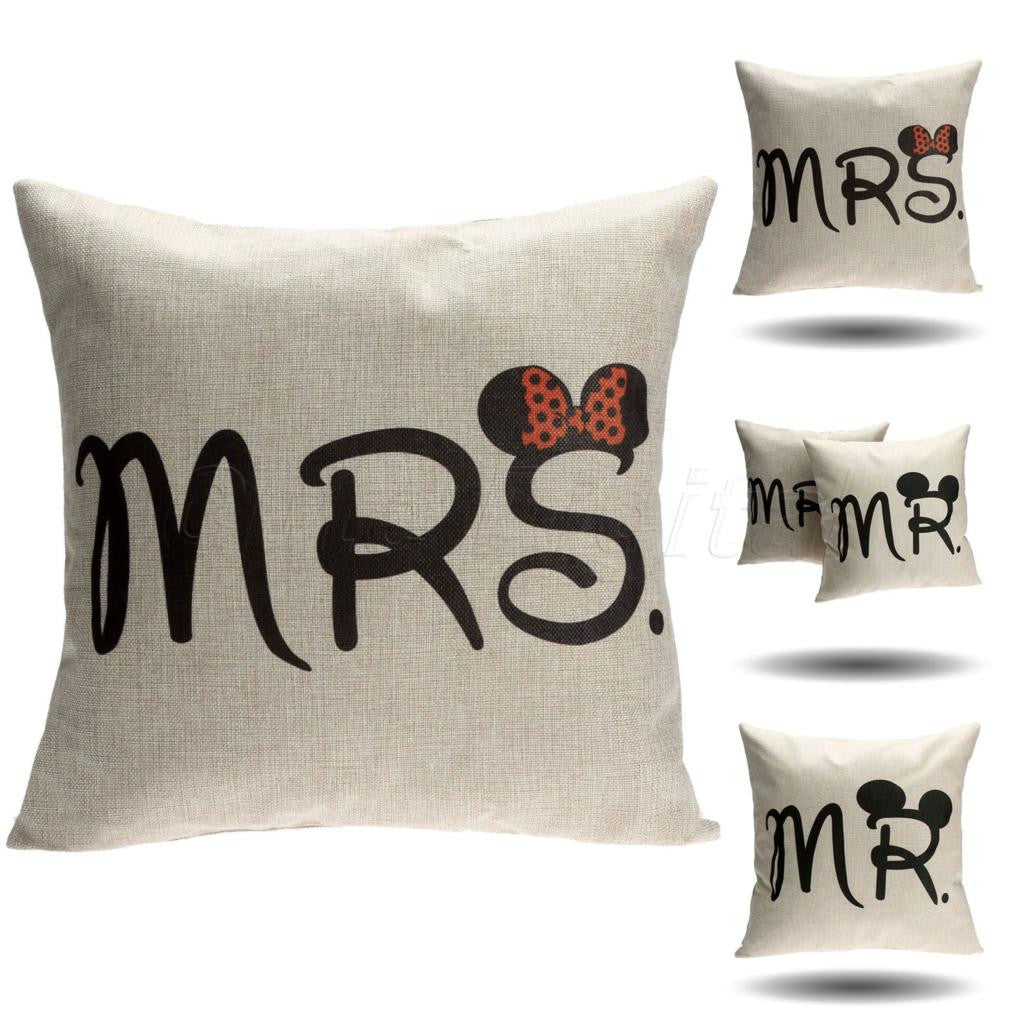 MRS Mickey MouseCushion Cover Cotton Linen Pillow Case Sofa Waist Throw Couch Car Ded Home Decor Mr & Mrs Mickey Mouse Pillowcase Chair Covers