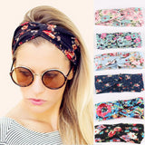 Retro Women Elastic Turban Twisted Knotted Headband Ethnic Floral Wide Stretch Hair Band Girl Yoga Hair Accessories-Dollar Bargains Online Shopping Australia