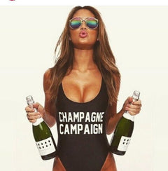 Custom Bodysuit CHAMPAGNE CAMPAIGN Hipster SWIMSUIT Women Sexy Open Low back High-cut bathing suits jumpsuit one piece swimwear-Dollar Bargains Online Shopping Australia
