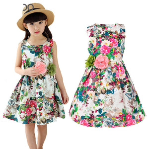 Kids clothing summer dresses for girls summer style girl dress floral print cotton birthday party sundress baby children clothes - Dollar Bargains - 1