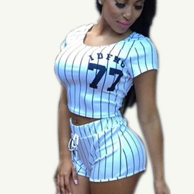2016 Tracksuit For Women Baseball 2 Piece Set Women Casual Women's Tracksuits Short Sets Summer Suits Costume For Women - Dollar Bargains