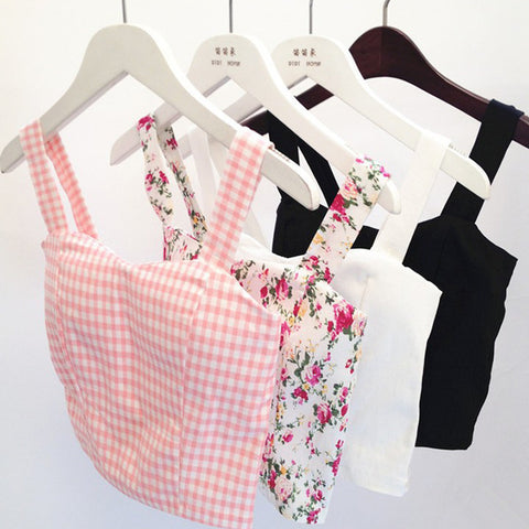 Cute Crop Top Women Plaid Floral Cropped Feminino Tank Top White Cami Short Tops Vest Summer Dill Top Cropped Women Mothers Cami - Dollar Bargains - 1