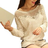 Fashion Women Casual O Neck Lace Blouse Tops Sexy Hollow Out Lace Crochet Flower Shirt Blusas 2 Style L-5XL-Dollar Bargains Online Shopping Australia