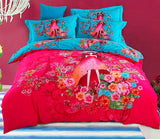 Boho Red Blue Pink 100%Thicken Cotton Bedding set Duvet Cover Bed Sheet Pillow Sham Bed Set King Queen Size 4PCS-Dollar Bargains Online Shopping Australia