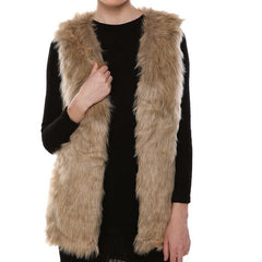 Women V Neck Slim Long Faux Fur Vest Fashion Solid Color Sleeveless Casual Winter Coat & Jacket For Female Elegant Outwear-Dollar Bargains Online Shopping Australia
