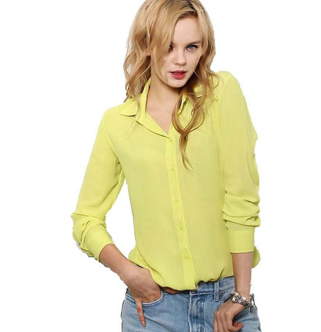 Women Blouses Button 5 Solid Color 2015 New Long-sleeve Shirt Female Chiffon blouse Women's Slim Clothing blusas feminina TPB08 - Dollar Bargains - 1