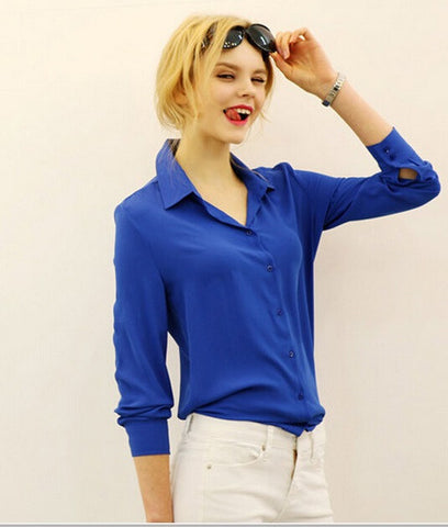 Women Blouses Button 5 Solid Color 2015 New Long-sleeve Shirt Female Chiffon blouse Women's Slim Clothing blusas feminina TPB08 - Dollar Bargains - 4
