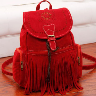 Tassel Bag Women Backpack Bag Bolsa Feminina Retro Engraving and Fringe Design Women's Vintage Satchel-Dollar Bargains Online Shopping Australia
