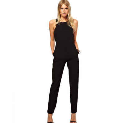 New summer sexy women Jumpsuit Romper lady Sleeveless bodysuit playsuit womens Black Trousers long pants in womens clothes-Dollar Bargains Online Shopping Australia