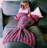wool knitted Mermaid Tail blanket Handmade children mermaid blanket Throw Bed Wrap super soft children swaddle sleeping blanket-Dollar Bargains Online Shopping Australia
