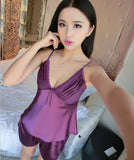 New V-Neck rayon silk women's sleepwear spaghetti strap lace sexy pajama set-Dollar Bargains Online Shopping Australia
