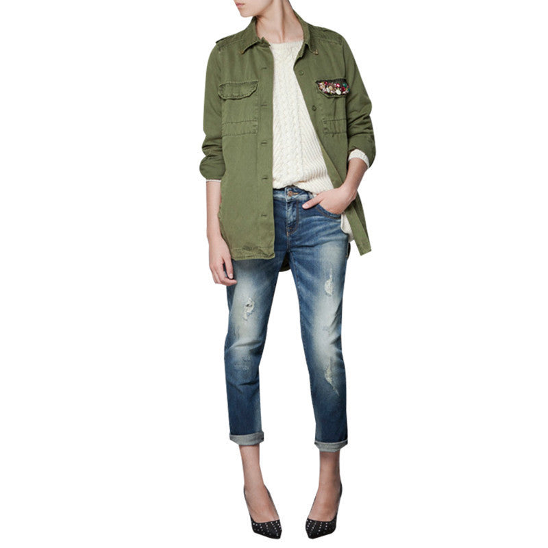 HDY Haoduoyi navy green short trench  turn-down collar Outwears diamond women Coats for wholesale - Dollar Bargains