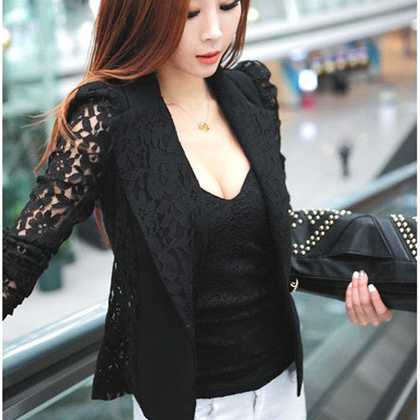 WJ Elegant  Women Long Sleeve Coat Lace Open Front Blazer Short Casual Jacket Blouse Slim  Coat New - Dollar Bargains - 3