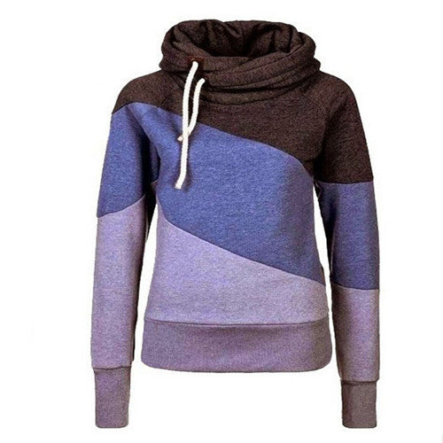 blue / MWomen Hooded Sweatshirt Long Sleeve O-neck women hoodies pullover Knit Thick Sweatshirts